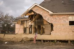 Front facade of damaged home Royalty Free Stock Image
