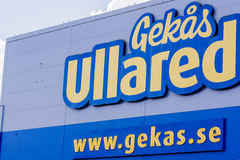The front facade of  GeKas super center  at Ullared Sweden. Signpost on the facade. Scandinavia´s largest warehouse Royalty Free Stock Image