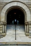 Arched entranceway. The front facade of the historic landmark wood county courthouse in West Virginia Stock Photography