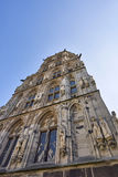 Front facade of Historisches Rathaus historical city hall. Located in the inner city of Cologne, Germany stock photos