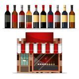 Front facade of a liquor store with a large shop window. royalty free stock photography