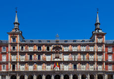Front Facade of Plaza Mayor Building, Madrid Stock Image