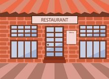 Front facade of the restaurant. stock illustration