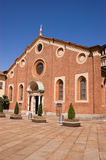 Front facade of Santa Maria delle Grazie, Milan. Church of Santa Maria delle Grazie in Milan (Italy). This church and the adjacent Dominican convent were built Royalty Free Stock Photos