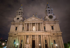 Front facade of St Paul's Cathedral London at night. Stock Images