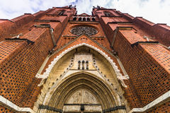 Front facade of Uppsala Cathedral, Sweden. The Front facade of Uppsala Cathedral, Sweden royalty free stock photo
