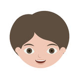 Front face boy with brown hair. Vector illustration Royalty Free Stock Images