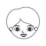 Front face boy silhouette smiling. Vector illustration Stock Photography