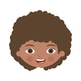 Front face brunette girl with curly hair. Vector illustration Stock Photography