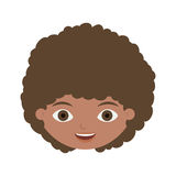 Front face child with curly hair. Vector illustration Stock Photography