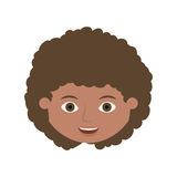 Front face child with curly hair. Vector illustration Stock Photo