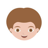 Front face child with light brown hair. Vector illustration Stock Photography