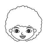 Front face child silhouette with curly hair. Vector illustration Royalty Free Stock Photography