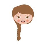 Front face cute girl with braided hair Royalty Free Stock Photos