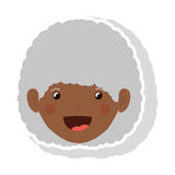 Front face elderly brunette woman with curly hair. Vector illustration Royalty Free Stock Photo