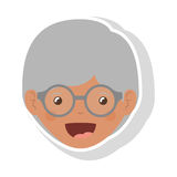 Front face elderly brunette woman with glasses. Vector illustration Stock Image