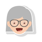 Front face elderly woman short hair with glasses Royalty Free Stock Images