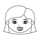 Front face girl smiling silhouette with hairstyle Royalty Free Stock Photography