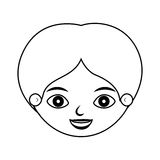 Front face kid silhouette smiling. Vector illustration Stock Images