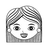 Front face lady silhouette with hair striped short Royalty Free Stock Photography