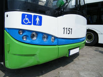 Front face of low floor bus closeup. Stock Images