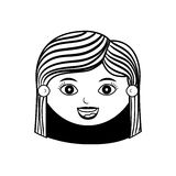 Front face woman silhouette with hair striped Stock Photos