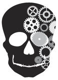 Front Facing Skull with Mechanical Gears Royalty Free Stock Images