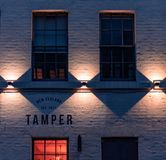 SHEFFIELD, UK - 23RD MARCH 2019: Front of the Tamper coffee house - Late in Spring stock images