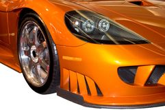 Front Fender of a Stylish Saleen Sports Car. Close-up details of the stylish front fender and headlight assembly of a Saleen sports car. Many more car photos Royalty Free Stock Images