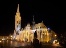 In front of the Fisherman`s Bastion at night royalty free stock images