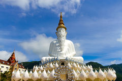Front of five white Buddha with sky at Wat Pha Sorn Kaew, Khao K royalty free stock photos