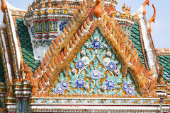 Front of flower roof at the King Palace in Bangkok. Royal Pavilion Mahajetsadabadin in Thailand Royalty Free Stock Photography