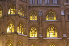 Front fragmnet of The New Town Hall on dusk in winter time. Munich. Germany. royalty free stock photos