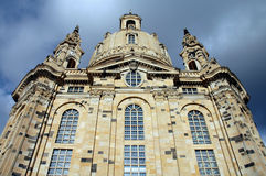 Front of Frauenkircke in Dresden, Germany. Front of Frauenkircke in Dresden showing steeples and dome Stock Photo
