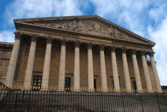 In front of the French National Assembly in Paris, France. Bourbon Palace of the National Assembly in Paris, Europe stock image