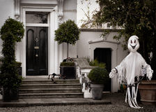Front garden decoration for halloween with scary ghost Stock Photo