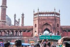 Front Gate av Jama Masjid, Delhi, Indien Royaltyfri Fotografi