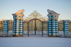 Front gate of the Catherine Palace close-up in the February twilight. Tsarskoye Selo. Russia stock photos