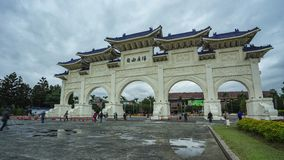 Front Gate of Chiang Kai-shek Memorial Hall in Taipei city, Taiwan day to night time lapse