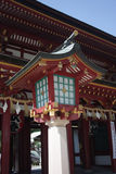 Front gate lantern. Wooden front gate lantern from Dazaifu Tenmangu shinto shrine. Fukuoka, Japan Royalty Free Stock Photo