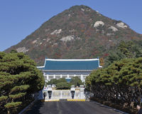 Front gate of South Korea presidential office is also known as The Blue House due to its blue color roof tiles - Seoul, South Kore Royalty Free Stock Photos
