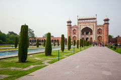 Front gate of the Taj Mahal Stock Photography