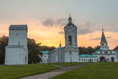 The Front Gate, Water Related tower and church of St. George in Kolomenskoye, summer evening Stock Image