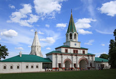 Front gates (1673) and church of the Ascension (1532) in Kolomenskoye, Moscow, Russia. Royalty Free Stock Images
