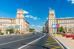 Front gates to the city in Gagarin square of Moscow Royalty Free Stock Images