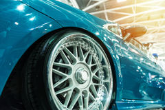 Front of a generic blue sport car Stock Photography