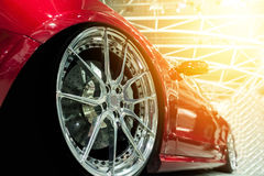 Front of a generic red sport car. In sunlight Royalty Free Stock Images