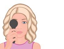 Front_Girl de visage obtenant l'examen de la vue Images libres de droits