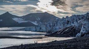 Front of glacier at dusk. Svalbard Stock Image
