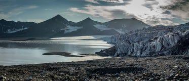 Front of glacier at dusk. Svalbard Royalty Free Stock Image